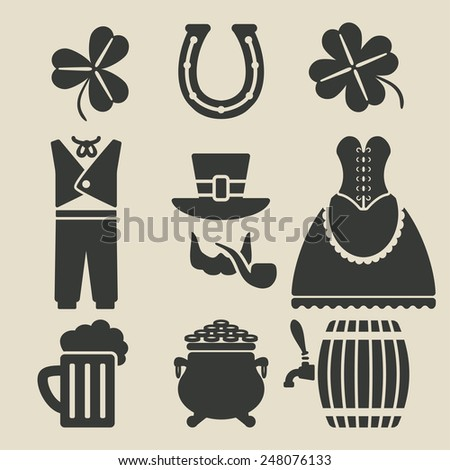 St. Patricks Day symbols set - vector illustration. eps 8 - stock vector