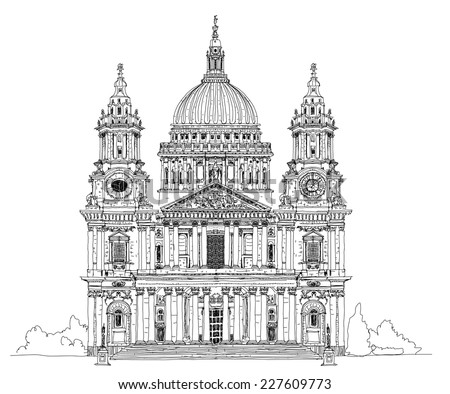 St. Pauls cathedral, London. Sketch collection - stock vector