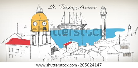 St.Tropez france and anchored ships vector - stock vector