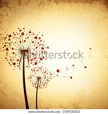 St.Valentine Day Love Dandelions With Red Hearts Grunge Vintage Background - stock vector
