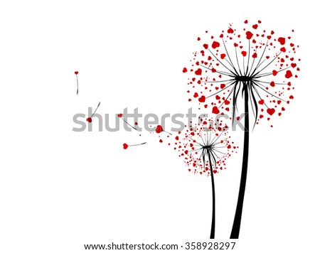 St.Valentine Day Love Dandelions With Red Hearts Over White - stock vector