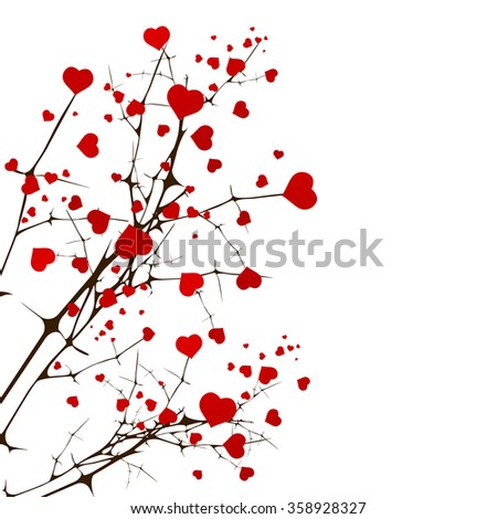 St.Valentine Day Love Tree With Hearts Over White - stock vector