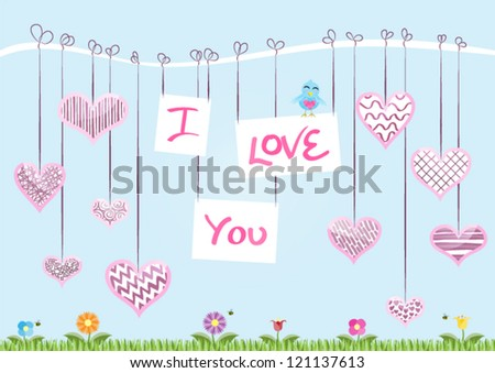 St Valentine�s Day Card � The message �I Love You� hanging from a branch with decorated hearts. Vector EPS10 Version. - stock vector
