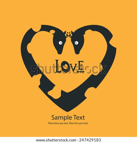 St. Valentine's day greeting card with giraffes - stock vector
