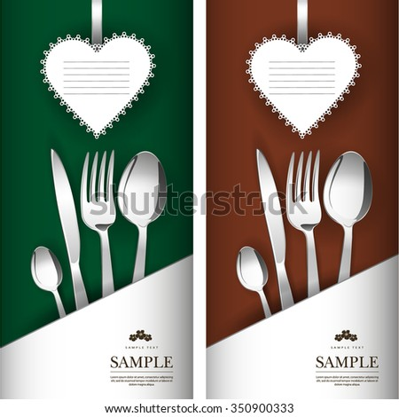 St. Valentine's Day. Two cards with white paper heart. It has a white  pocket. Grouped for easy editing. Perfect for invitations or announcements or restaurant menu. - stock vector