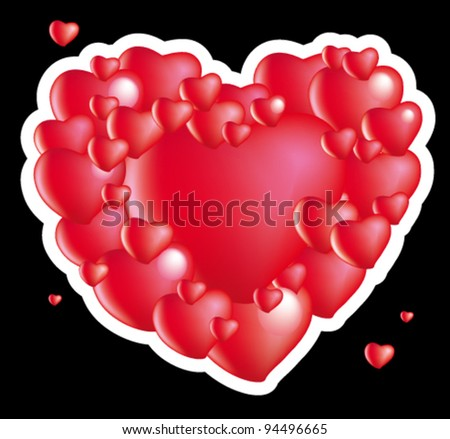 St Valentine's red heart - stock vector