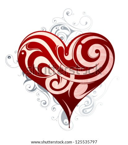St. Valentines heart shape abstraction - stock vector