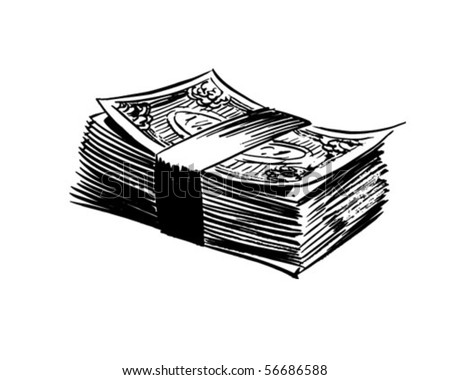 Stack Of Bills - Retro Clip Art - stock vector