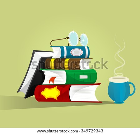 stack of books with a pair of eyeglasses and cup of tea.Reading, writing or education, school or college conception. Library and intelligence staff. Vector illustration - stock vector