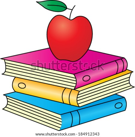Stack of Books with Apple - stock vector