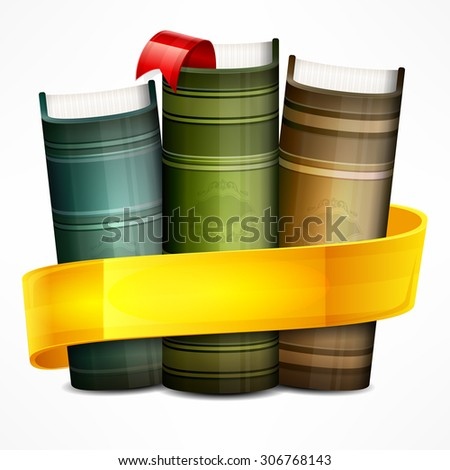 Stack of books with yellow ribbon on white, vector illustration - stock vector