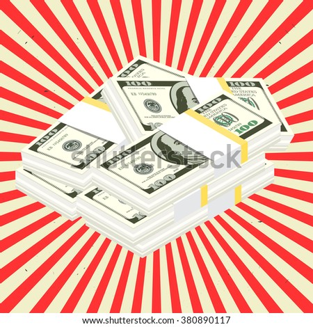 Stack of Cash. Vector Illustration in retro style. Hundreds of dollars. - stock vector