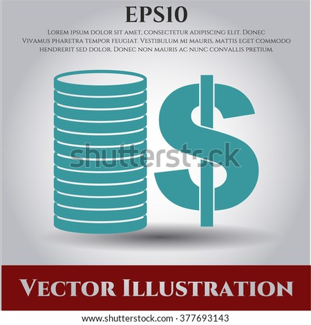 Stack of coins high quality icon - stock vector