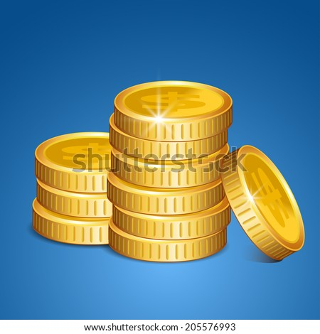 Stack of coins - vector money  - stock vector