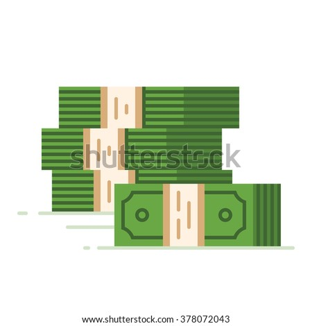 Stack of dollars. Big pile of cash. Flat vector illustration. - stock vector