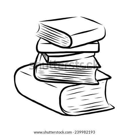 stack of five books / cartoon vector and illustration, black and white, hand drawn, sketch style, isolated on white background. - stock vector