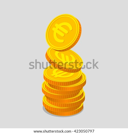 Stack of gold coins with euro signs. Coins is falling from the top so stack is increasing. Income concept - stock vector