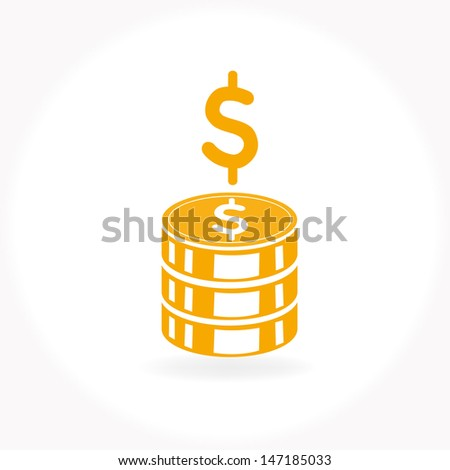 Stack of golden coins - stock vector