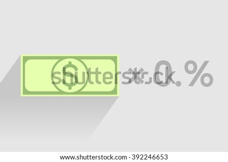 Stack of green banknotes with dollar sign as element of monetary financial business-formula. Tax percentage, profit interest and other economic indicators - stock vector