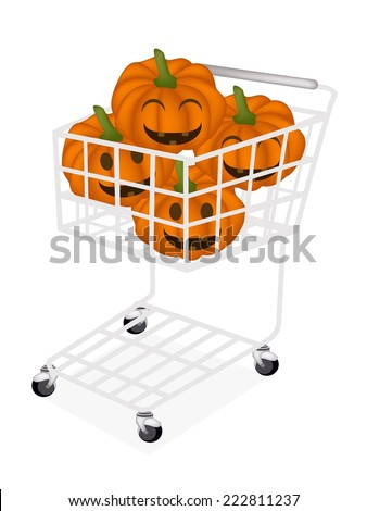 Stack of Happy Jack-o-Lantern Pumpkins in Shopping Cart, Sign For Halloween Celebration.  - stock vector