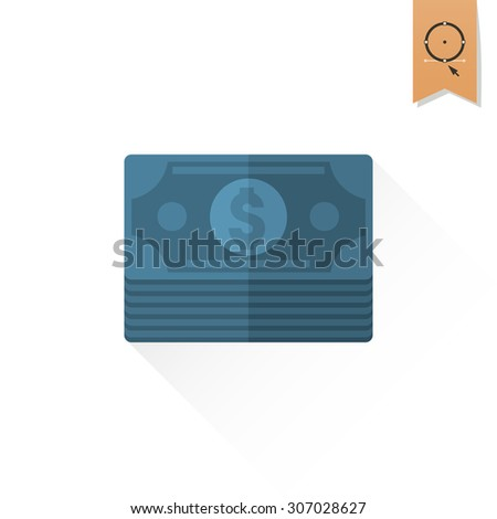 Stack of Money. Business and Finance, Single Flat Icon. Simple and Minimalistic Style. Vector - stock vector