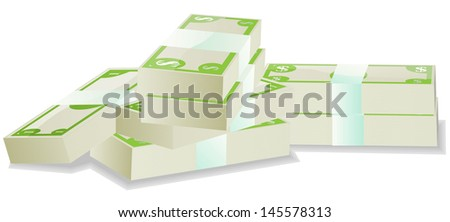 Stack of paper money - stock vector