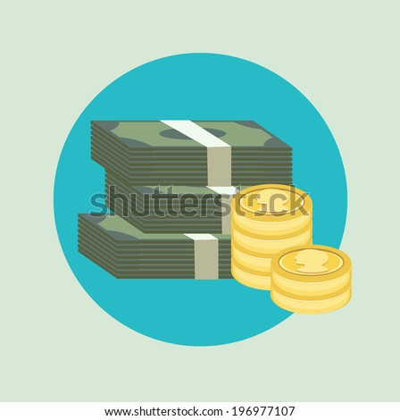 stack of paper money with golden coins flat icon - stock vector