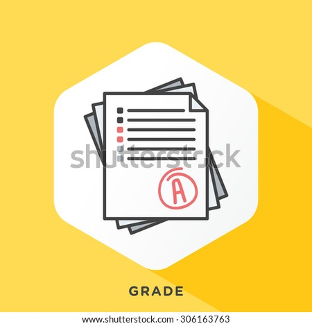 Stack of papers icon with dark grey outline and offset flat colors. Modern style minimalistic vector illustration for grading systems, school system, graduate diploma. - stock vector
