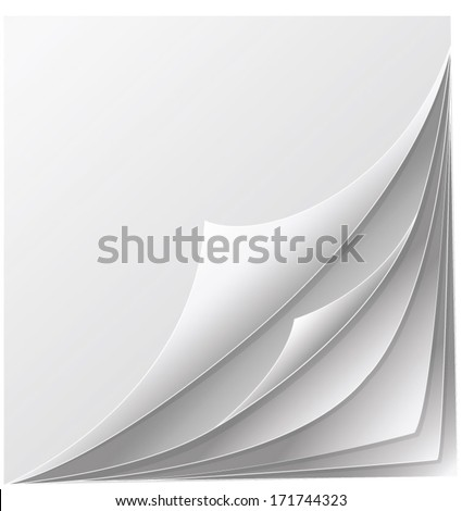 stack of papers with curl - stock vector