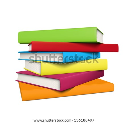 Stack of realistic colored books with empty covers. EPS10 vector. - stock vector