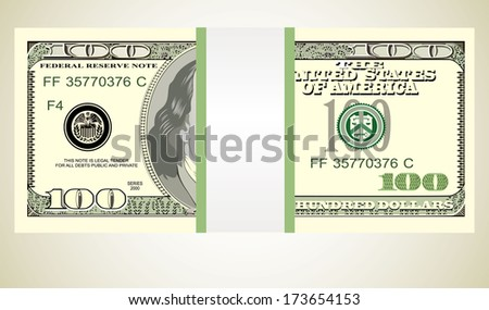 Stack of ten thousand dollar bills.  - stock vector