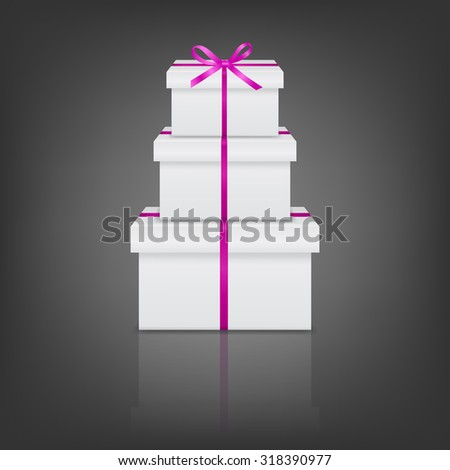 Stack of three realistic white gift boxes with pink ribbon and bow on gray background with reflection. Vector EPS10 illustration.  - stock vector