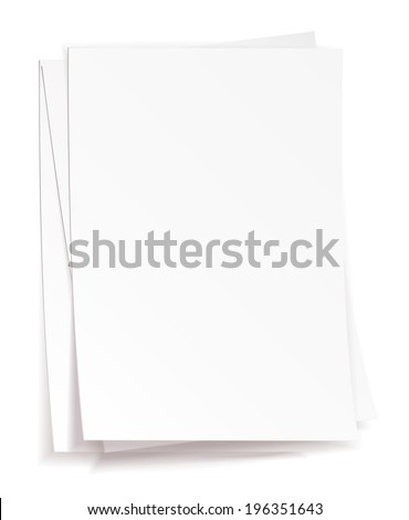 Stack of white papers on white background - stock vector