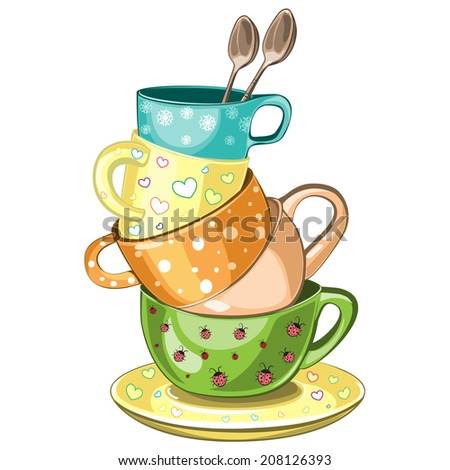 Stacked fancy multi-colored tea cups vector illustration - stock vector