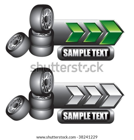 stacked tires on green and white arrow nameplates - stock vector