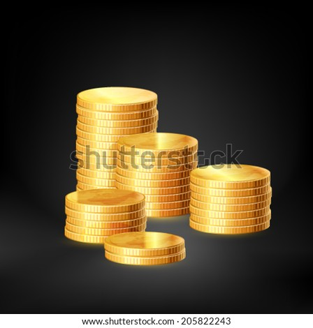 Stacks of gold coins, vector - stock vector