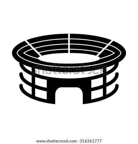 Stadium - black vector icon - stock vector