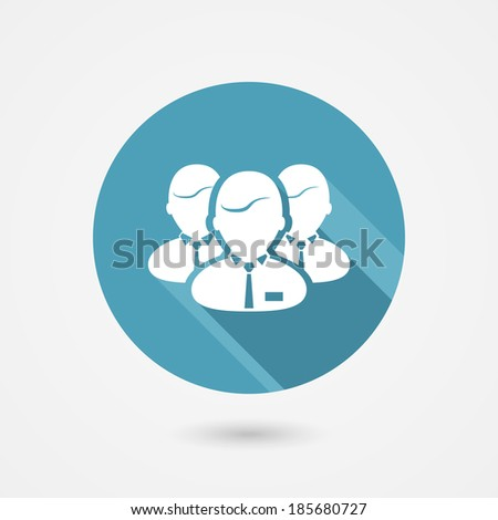 staff or team icon in trendy flat style with long shadows - stock vector
