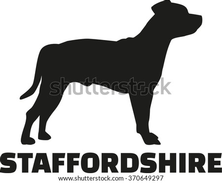 Staffordshire Terrier with breed name - stock vector
