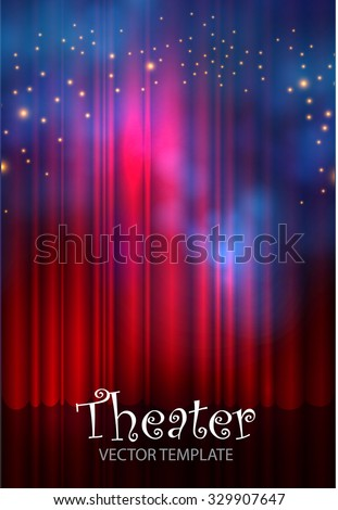 Stage Curtain Poster Template. Club, Theater & Presentation Background. Vector illustration  - stock vector