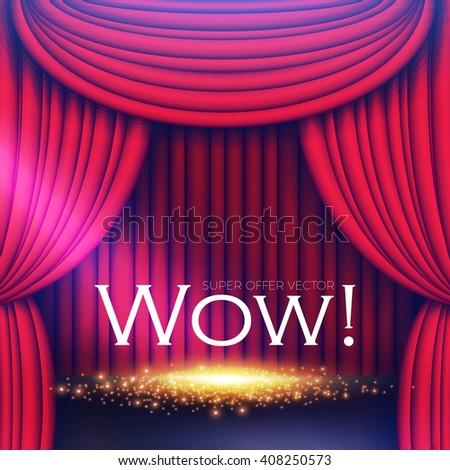 Stage Curtain with Spotlights & Shining Floor. Vector illustration - stock vector
