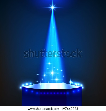 Stage Illuminated By Spotlight for your business presentation. Vector Illustration  - stock vector