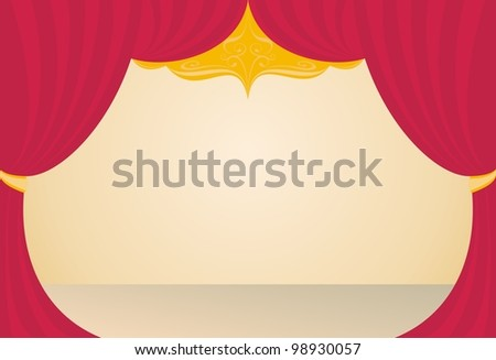 stage in a theater, a red curtain, beige floor, background - stock vector