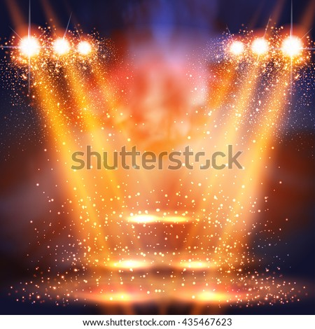 stage, light, spotlights shining in dark place background easy all editable - stock vector