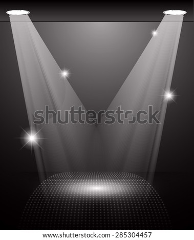 Stage Lighting black Background with Spot Light Effects, vector illustration. Abstract light lamps background for Technology computer graphic website internet and business.  - stock vector