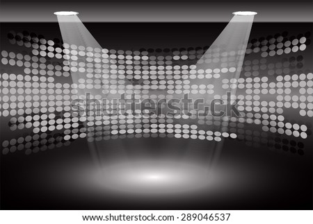 Stage Lighting black Background with Spot Light Effects, vector illustration. Abstract light lamps background for Technology computer graphic website internet business. screen, movie,cinema,scene - stock vector