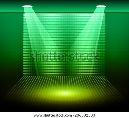 Stage Lighting green yellow Background with Spot Light Effects,vector illustration. Abstract light lamps background for Technology computer graphic website internet business. screen,movie,cinema,scene - stock vector