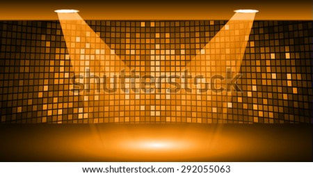 Stage Lighting orange Background with Spot Light Effects, vector illustration. Abstract light lamps background for Technology computer graphic website internet business. screen, movie,cinema,scene - stock vector