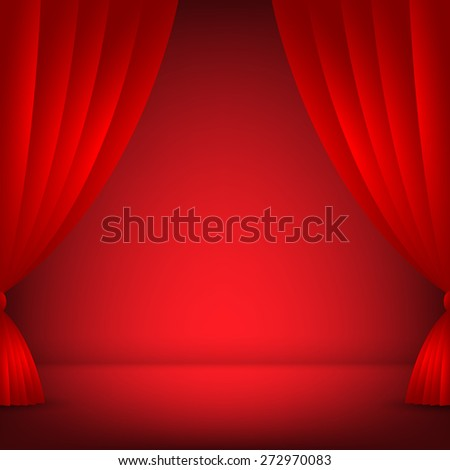 Stage, Red background vector illustration - stock vector