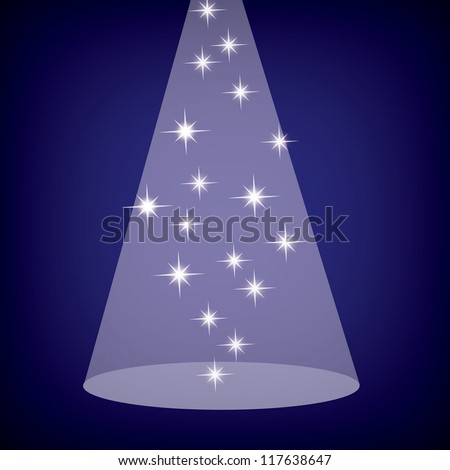 Stage spotlight with stars on blue, eps10 - stock vector